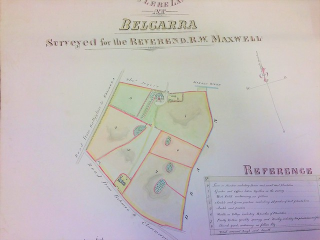 'A map of the glebe land at Belcarra, surveyed for the Reverend R.W. Maxwell', Surveyed by John Vousdan, June 1856, RCB Library D5/17/5/