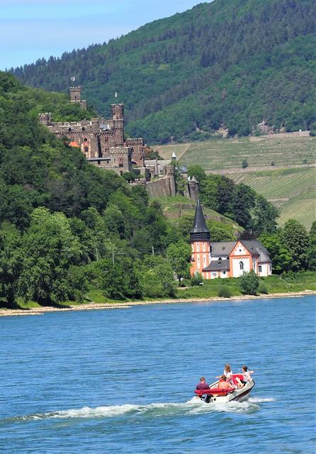 River Rhine in Germany between Ruedesheim and Koblenz