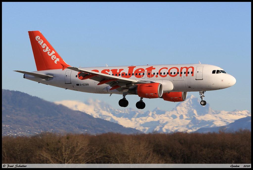 AIRBUS A319 111 easyJet G-EZBB 2854 Genève février 2020