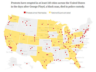 Map of George Floyd related protests across the United States