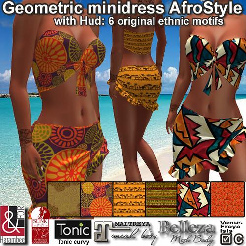 Geometric minidress AfroStyle with hud
