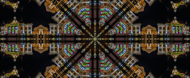 kaleidoscopic old courthouse projections
