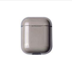 Husa protectie suport casti Apple Airpods, neagra semi transparenta