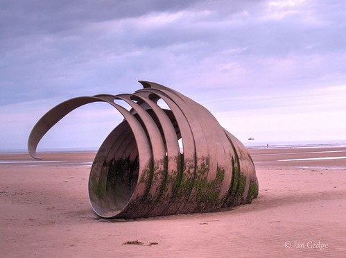 marys shell cleveleys lancashire britain uk england beach sculpture sunset