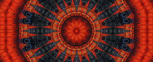 city hall dome in red kaleidoscope