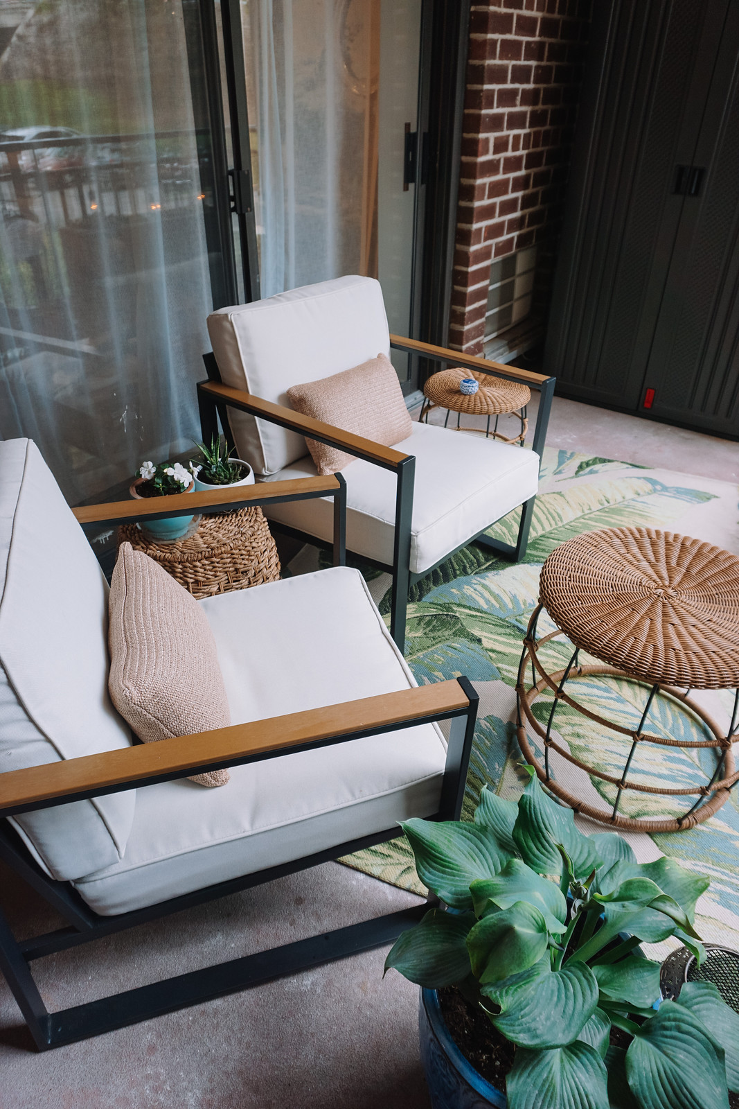 My Apartment Balcony Reveal + More Affordable Outdoor Inspiration   Target Outdoor Furniture   Outdoor Palm Print Rug   Wicker Furniture Inspiration   Outdoor Oasis String Lights   How to Decorate a Small Balcony   Patio Ideas   Deck Inspiration   Outdoor Living Room   Outdoor Decorating Ideas   Terrace   Porch   Patio Renovation   Balcony Remodel