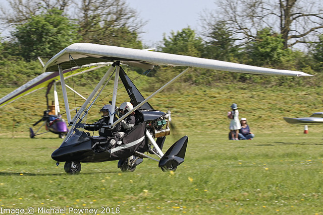 G-GEMX - 2008 build P & M Aviation Quik GT450, departing from Popham during the 2018 Microlight Trade Fair