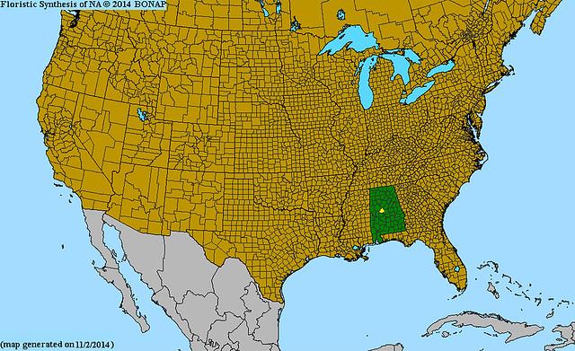 distribution range map of Cahaba Prairie Clover from bonap.org