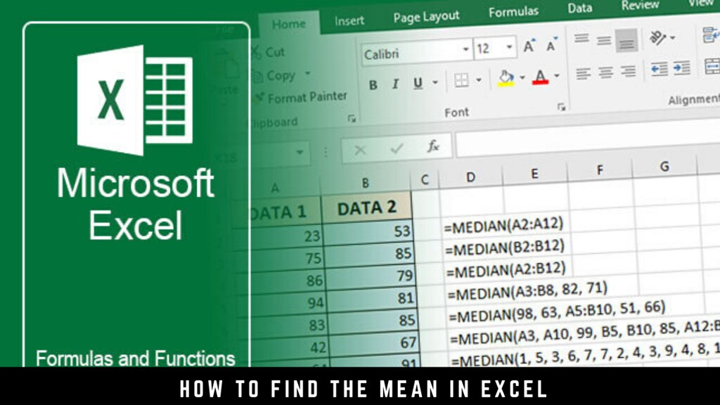 How to find the mean in Excel
