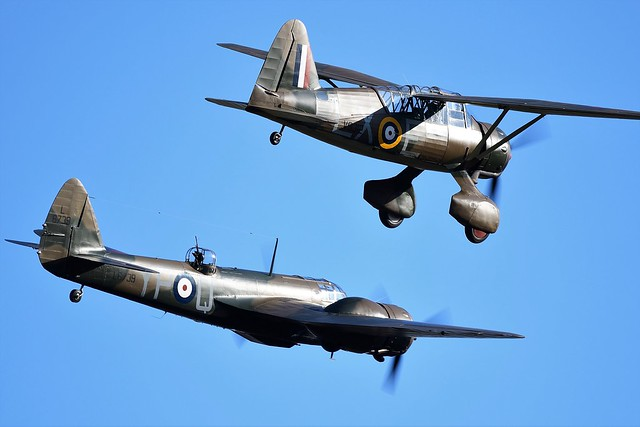 RAF Westland Lysander V9312 G-CCOM & RAF Bristol Blenheim Bomber L6739 G-BPIV