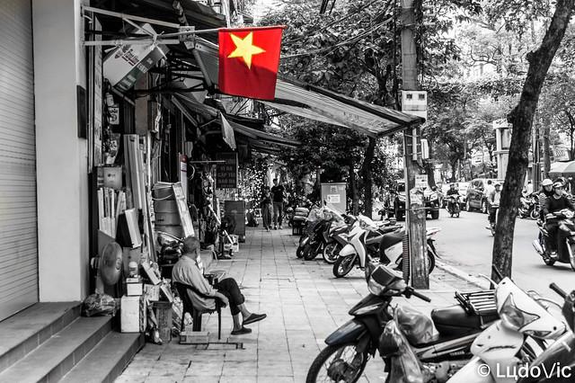 Vietnamese's Flag on Hanoi's street