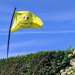 Smiley flag in a Preston garden