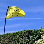 Smiley flag in a Preston garden
