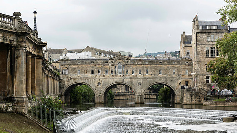 View of Pultney Bridge and the Weir in Bath