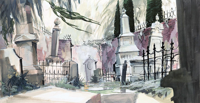 Haunted Mansion graveyard concept art