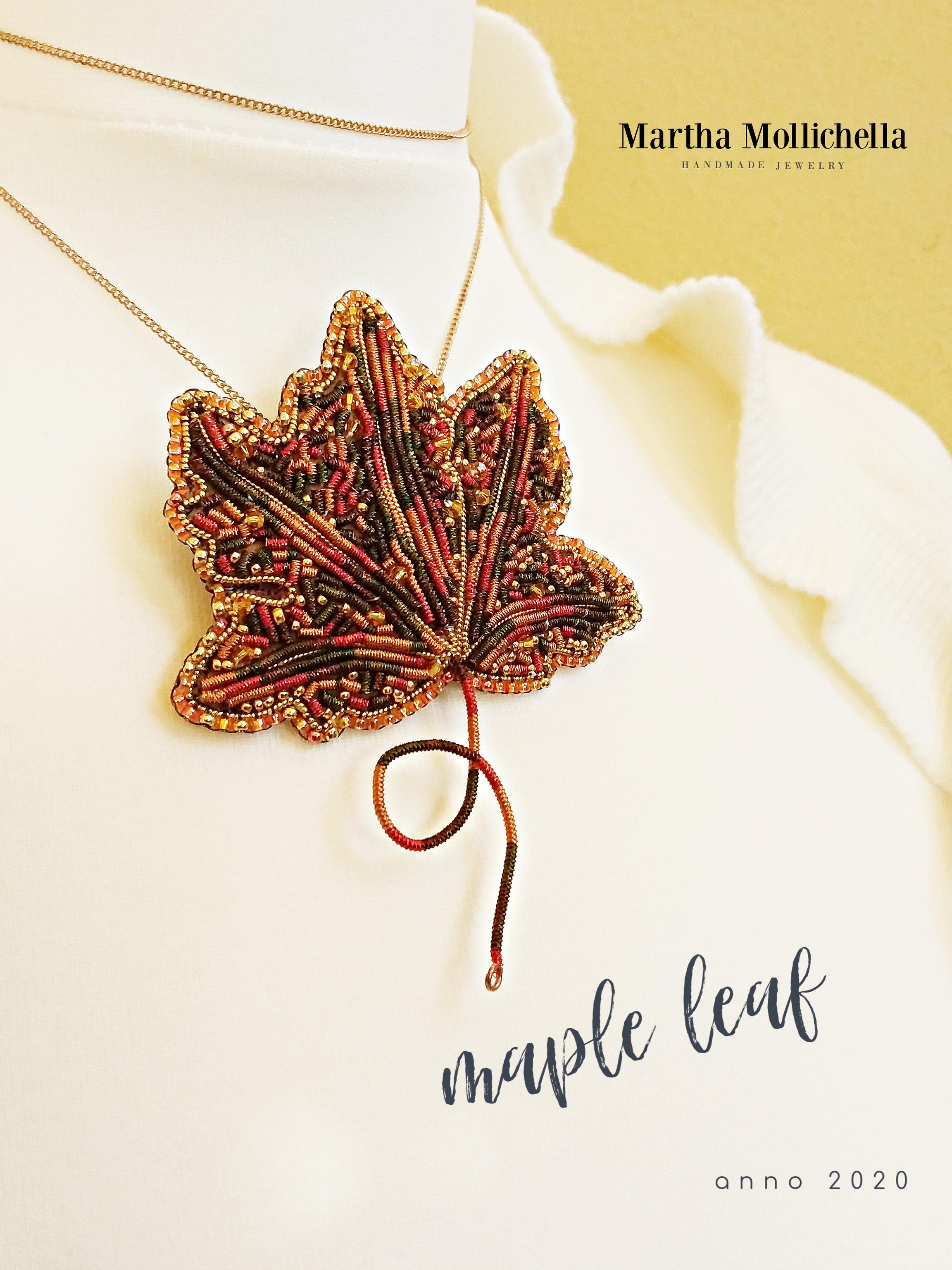 maple leaf brooch pendant handmade jewelry