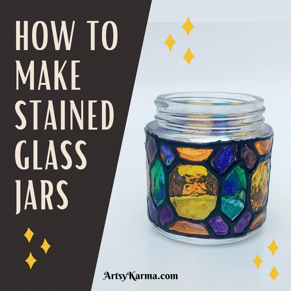 Check out my tutorial to make a faux stained glass jar. Add a candle and you've got a colorful luminary. Link in description.