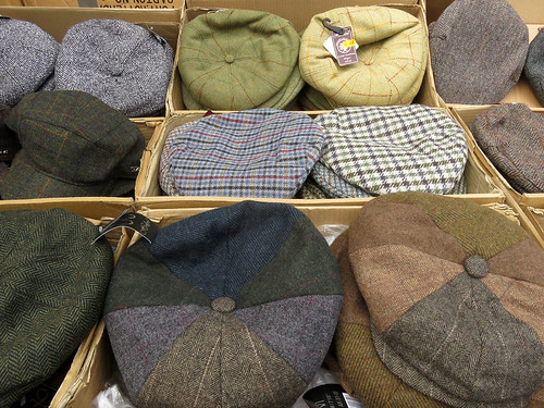 Hats for sale in the Mold Market, Wales