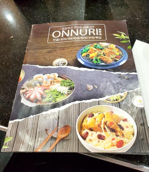 ONNURI Korean Restaurant menu cover