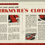 Tue, 2020-06-02 17:30 - The centre pages of a small booklet extolling the virtues of 'Birkmyre's Cloth', a heavyweight waterproof cloth used for tarpaulins, coverings, tents, sheets and coverings. The booklet, not dated, feels to be about c1935 as it mentions 'over 50 years of experience' and that ties it in nicely with the dates of the start of production of this 'named' cloth.  The name of Birkmyre and the family association with both Gourock and the Gourock Ropeworks company, who made the fabrics, actually goes back to the eighteenth century when Henry Birkmyre started employment as a canvas weaver in the town. The association with the manufacturing of sailclothes, ropes and associated textiles meant the family, in time, came to dominate the Company - and given the importance of towns such as Gourock on the River Clyde to the rapidly growing and expanding shipping industries the company prospered. 'Birkmyre's Cloth' was apparently rendered 'waterproof' by treatment of the threads, either cotton or flax, themselves during the weaving of the tarpaulin cloth rather than after production. The booklet describes the various weights and grades produced and the numerous uses it could be put to.   I hadn't realised until I looked further at the company that they had a long association with David Dale's world famous New Lanark Mills as in 1881 they acquired the lease of the mills for weaving and this is where, I suspect, the cloth was produced for the next 65 years. The company appears to have been acquired by British Ropes in 1970 and it appears to have vanished after that.