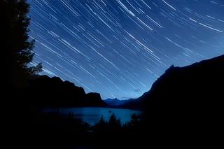 Star Trails over Wild Goose Island and Saint Mary Lake, Glacier National Park, Montana