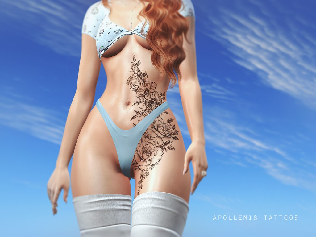 ~APOLLEMIS Tattoos~ Roses & Peonies Belly
