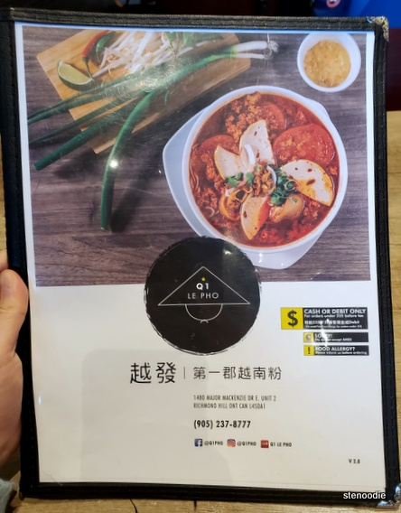 Q1 Le Pho menu cover