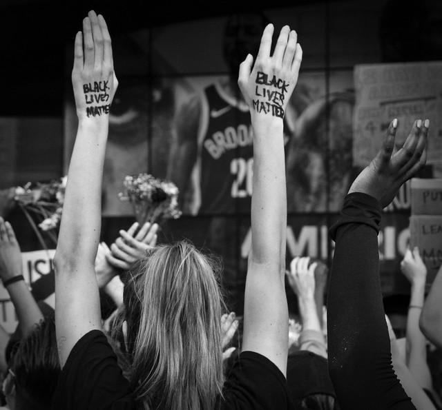 Black Lives Matter hands  up! at Barclays