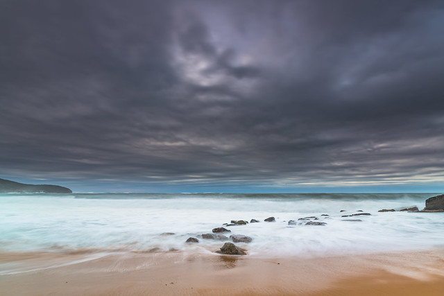 Moody Seascape with Large and Powerful Surf