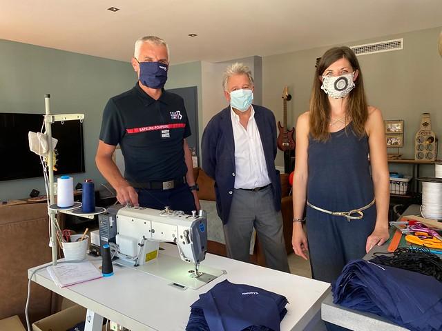 Visite de l'atelier de fabrication de masques à La Ciotat