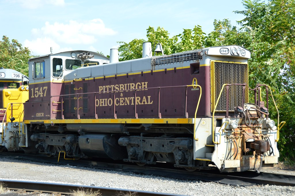 Pittsburgh & Ohio Central 1547  is tied down at McKees Rocks Pennsylvania