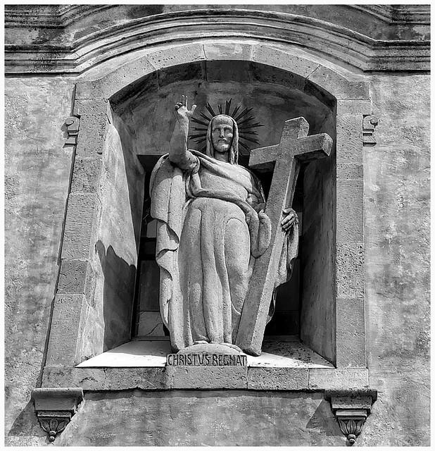 Statue above the door of St Joseph's Church, Taormina, Sicily