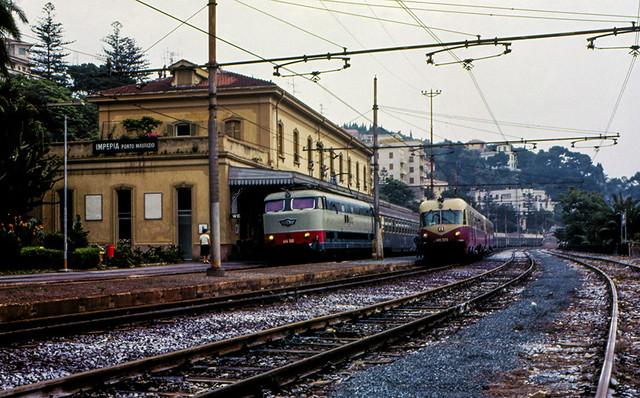 FS E 444.080 + ALn 448.2006 (TEE Breda) Imperia Porto Maurizio 12/06/1983