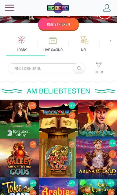 games in the spinia mobile app