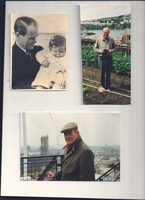 Tony with Judith 1951, Tony in his garden at Polruan and Tony on an outing in Paris