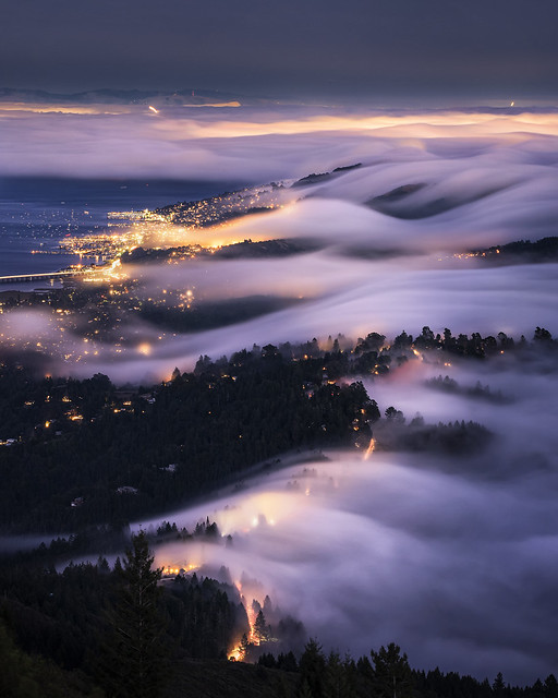 Fog rolls over the city of Marin, CA