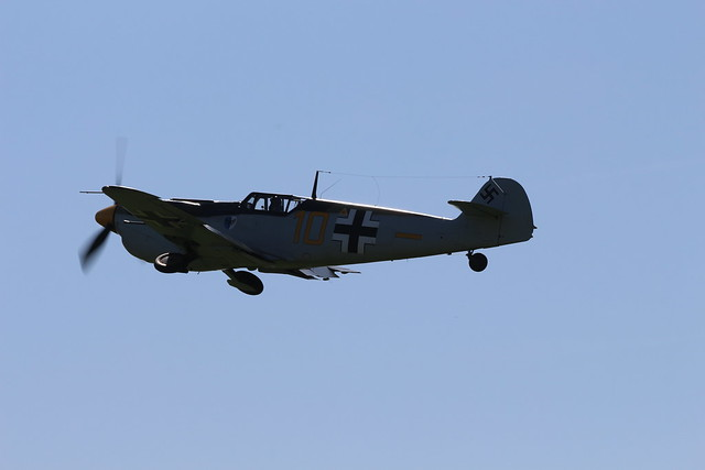 2019-08-24; 0167. Hispano HA-112 MIL Buchon (1959), G-AWHK, (Messerschmitt Bf 109) Yellow 10. Wings of Freedom, Ede.