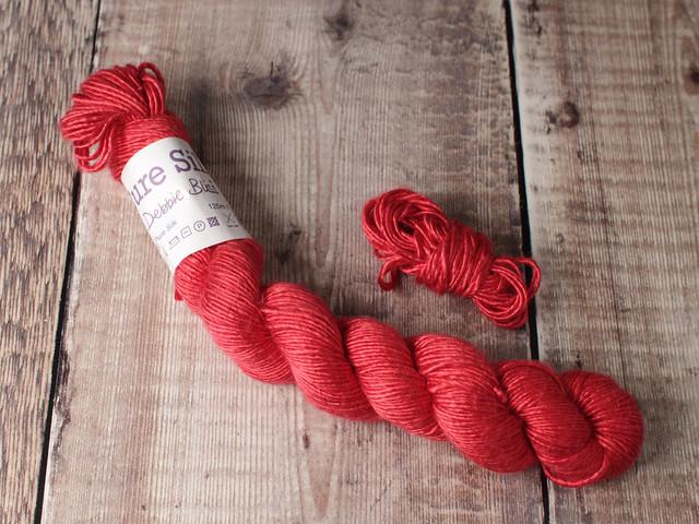 Destash yarn: Debbie Bliss Pure Silk DK yarn 50g – bright red