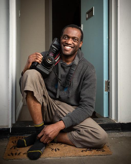 Ono with his camera, Brixton