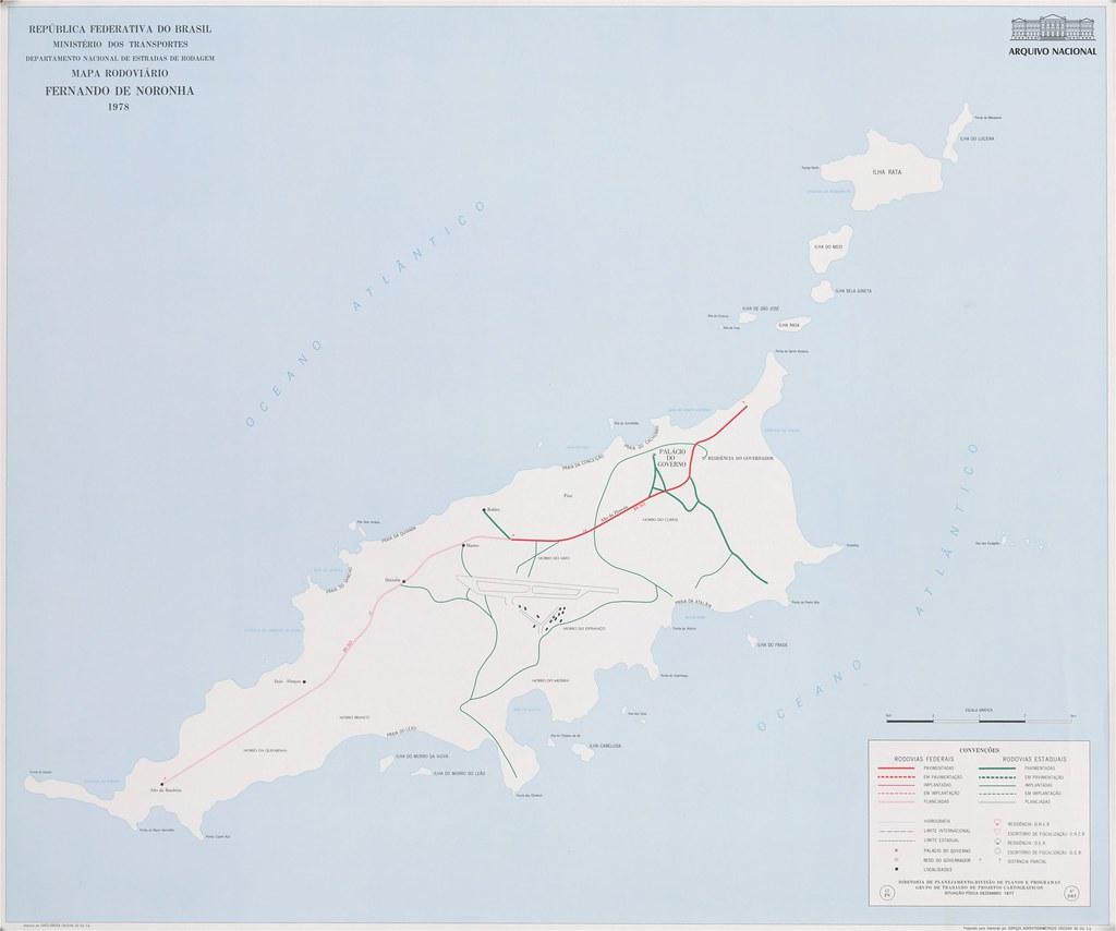 Mapa rodoviário de Fernando de Noronha - PE, 1978