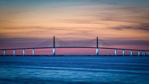 sunshineskywaybridge tampa bay tampabay florida water bridge dawn sunrise nikonz7 fortdesotopark