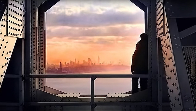 I've had issues with the time machine lately, but finally got it working. Set the controls to the middle of the new George Washington Bridge with the Manhattan skyline glowing in the distance by the setting sun. Quite a scenic view! New York. Oct 1932