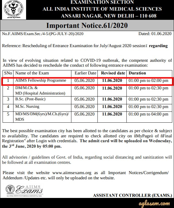 AIIMS Fellowship 2020 Revised Exam Date Notice