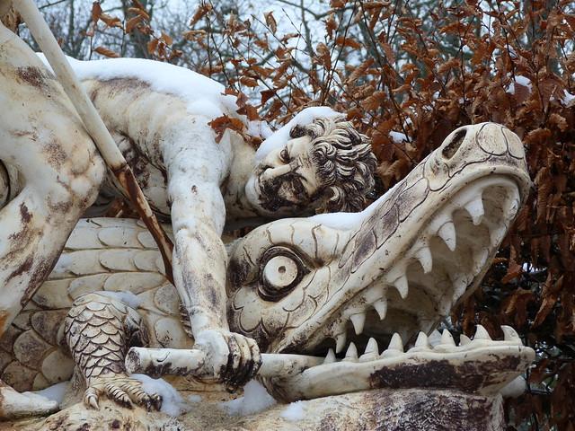 Fuente en los jardines del Palacio de La Granja de San Idelfonso (Madrid)
