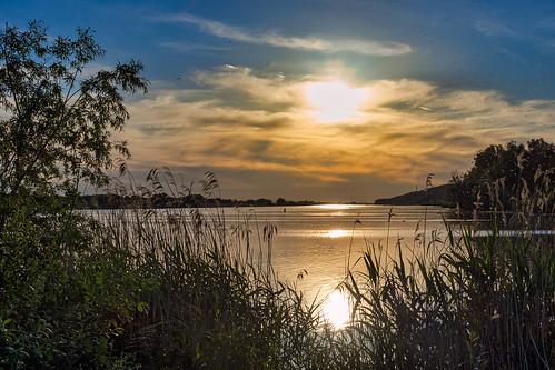 sonnenuntergang sunset elbe schnakenbek fluss river
