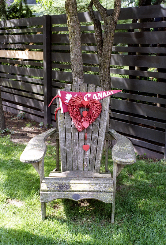 Patriotic and Rustic Muskoka Chair