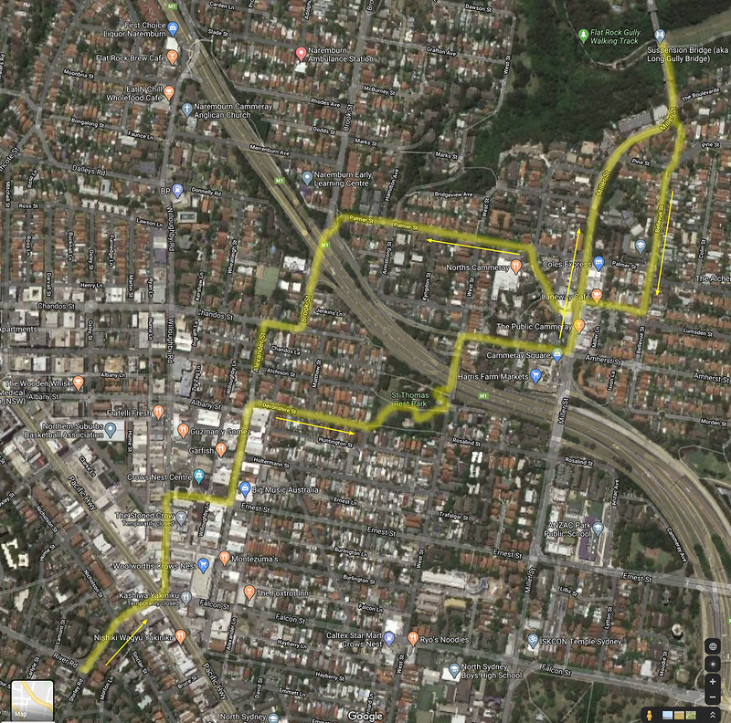 Map of Cammeray walk