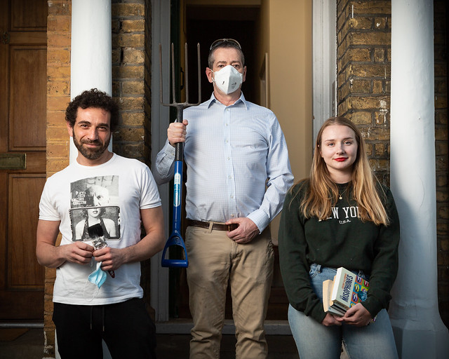 Alessandro with paintbrush, John with pitchfork, and Julie with books, Stockwell