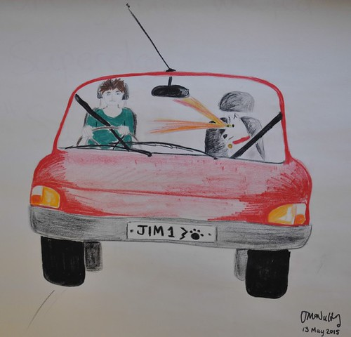 An illustration to accompany Jimbo, The Race Car and His Dancing Rhino, written by Donegall Road Primary School, P6