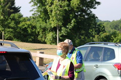 The giveaway was organized by Masks for CT which is coordinated by the Jewish Federation of Greater New Haven. Volunteers from across the region help package masks and distribute them to thousands of residents. Local sponsors included Channel 3, PLR 99.1, Windsor Federal, Carmon Community Funeral Homes, Suffield Rotary Club, River Valley Animal Center, Mark's Auto Parts, Highland Park Market and Paine's.